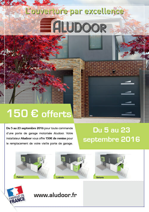 Promotion porte de garage aludoor portes et fen tres pvc for Promotion porte de garage sectionnelle