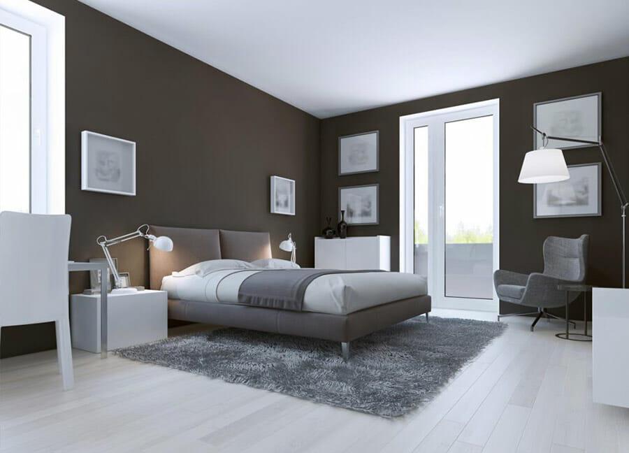 Parquet blanc dans une chambre moderne