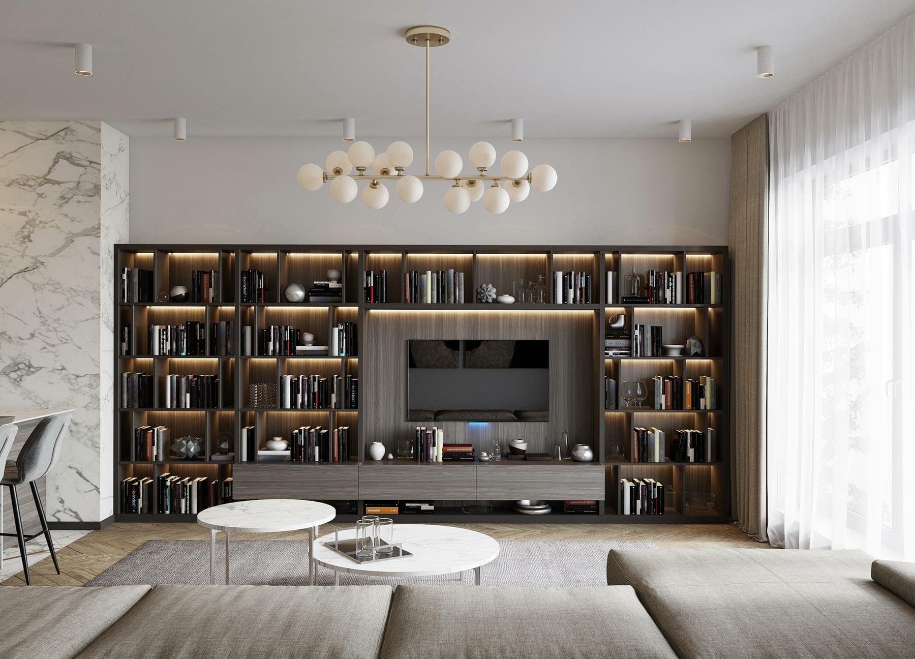 bibliothèque sur-mesure avec éclairage led