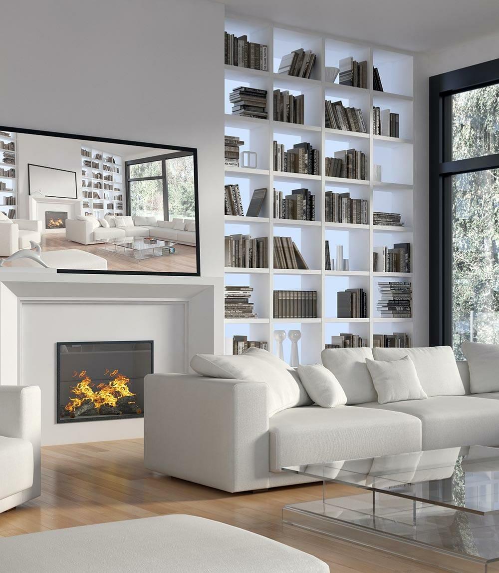 bibliothèque blanche salon