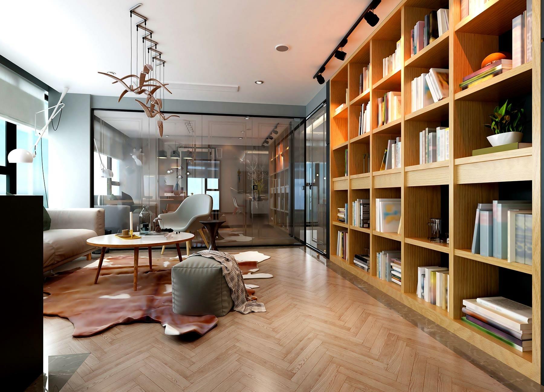 Bibliothèque sur-mesure bois clair