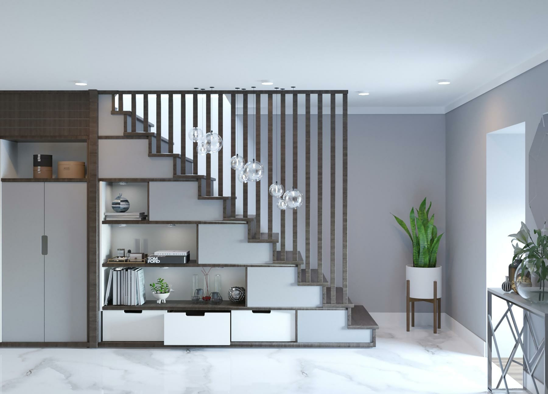 Meuble sous escalier design sur-mesure
